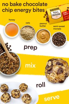 Nestle Toll House Semi-Sweet Morsels are the perfect ingredient to add for an easy and delicious after school or anytime snack! Create these easy No Bake Granola Bites by mixing together our chocolate…More Healthy Sweets, Healthy Snacks, Healthy Recipes, Yummy Snacks, Healthy Breakfasts, Eating Healthy, Protein Snacks, Healthy Protein Balls, Protein Energy Bites