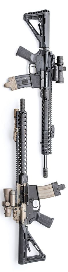 """Magpul ower receivers and furniture, Centurion Arms upper receiver groups with the new Centurion Modular Rails. The optics are from Browe.  The top one is a 16"""" barrel with 12"""" CMR, the bottom is a 14.5"""" barrel with 14"""" CMR.   Photo by Stickman."""