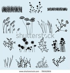Flower Drawing Flower Silhouettes Clip Art Clipart Flower Clip Art Clipart - Personal and Commercial Use - Silhouette Photoshop, Grass Silhouette, Silhouette Clip Art, Art Clipart, Doodle Art, Doodle Drawings, Zen Doodle, Photoshop Brushes, Flower Doodles