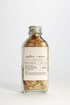 Epsom Salt, Bath Salts, Rose Petals, Dried Flowers, Natural Skin Care, Hibiscus, Whiskey Bottle, Indie, Essential Oils