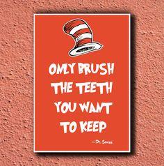 Dr Seuss Poster Art TEETH 11x17. $15.00, via Etsy.