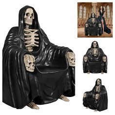 Unique Medieval Gothic Grim Reaper Of Death Throne Chair Furniture Fantasy Decor