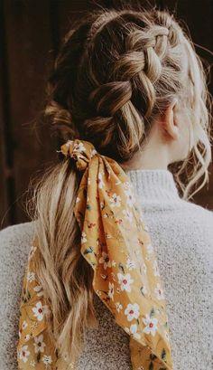 How To Wear Scarves, Aesthetic Hair, Aesthetic Makeup, Hair Looks, Hair Lengths, Curly Hair Styles, Hair Scarf Styles, Hair With Scarf, Hair Styles Easy