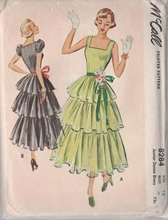 SALE Vintage 50s McCalls 8284 ROCKABILLY Three Tiered PARTY Dress with Underskirt Sewing Pattern Size 15 Bust 33 Uncut. , via Etsy.