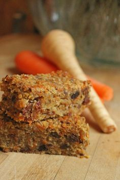 Carrot Parsnip Coconut Flapjacks with Apple.