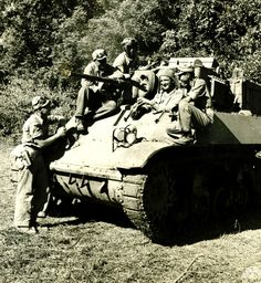 American soldier instructs new Chinese army in use of tanks in dense Burma jungle. Photographer Unknown
