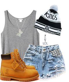 """""""Timbs & Beanie !!"""" by wildberrii ❤ liked on Polyvore"""