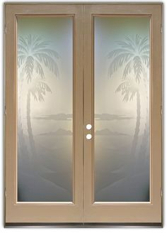 Glass Front Doors Etched Glass Beach Decor Palm Trees Tropical Decor Coastal