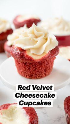 Gourmet Cupcake Recipes, Cupcake Flavors, Fun Baking Recipes, Unique Cupcake Recipes, Cookie Recipes, Homemade Cupcake Recipes, Mini Dessert Recipes, Cupcake Ideas, Red Velvet Cheesecake Cupcakes