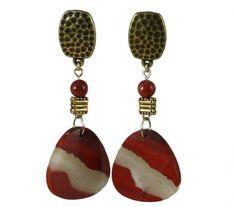 Deep Red or Burgundy Clip-On Earrings Deep Red Clip-On Earrings Poppy Jasper Clip-On Earrings