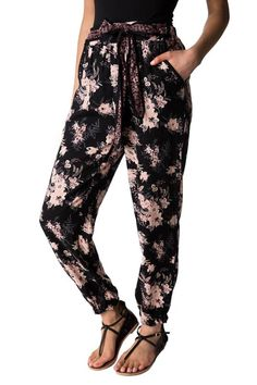 Floral Jogger with Tie Belt