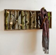Beautiful rustic-looking DIY coat-hanger and/or wall art for the interior interior design 2012 decorating room design house design Art Decor, Diy Home Decor, Decor Ideas, Diy Ideas, Decorating Ideas, Creative Ideas, Craft Ideas, Lamp Ideas, Interior Decorating