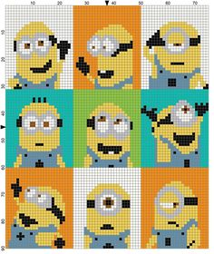Cross Stitch Patterns Minion Each square equals one stitch - any of there: sc, (block stitch), hdc Crochet Pixel, Graph Crochet, Minion Crochet, Knitting Charts, Knitting Patterns, Crochet Patterns, Cross Stitch Designs, Cross Stitch Patterns, Cross Stitching