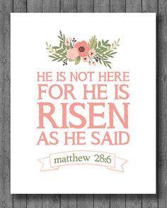 Easter Print  Instant Download  He is Risen  8x10 by JustAPeekAHoo, $5.00