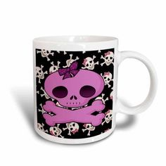 3dRose Girly Pink Skull With Bow On Skull Background, Ceramic Mug, 15-ounce