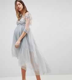 cfd9be17a3a9d Chi Chi London Maternity High Neck Tulle Midi Skater Dress With Lace S 1st  Time Moms