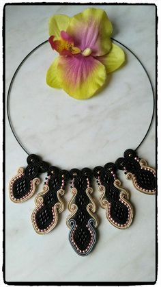 "Soutache necklace "" Madame Vaako"""