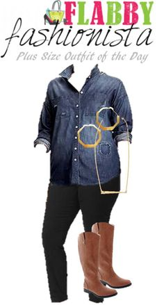 Plus Size Outfit of the Day – Distressed Chambray