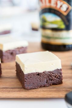 Caramelized White Chocolate Buttercream frosted Irish Cream Brownies