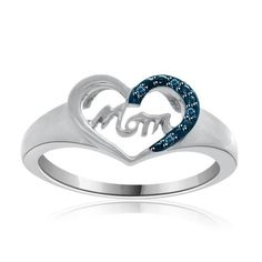 $149 Womens Real Blue Diamond MOM Heart Ring Mothers Day Gift SALE #jewelryauctionhouse #MothersDay