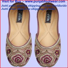 There  are Indian Beaded Khussa designer shoes for the Women's. We make these shoes  in sizes 6 to 11 USA, 3 to 9 UK & 36 to 44 EUR  all sizes. The Cost of the display shoe is 37$ each pair. Shipping Worldwide 10$ visit to buy www.punjabfootwear.com