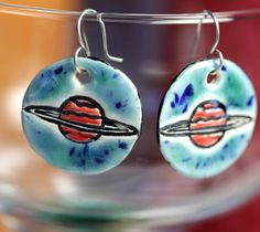 Ringed Planet Ceramic Earrings in Blue by surly on Etsy, $22.00