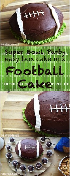 Football cake recipe for super bowl party. Super bowl party food idea: Ingredients and directions for how to make a DIY football cake. Super Bowl Party, Football Birthday Cake, Birthday Cakes, Birthday Ideas, Birthday Stuff, Birthday Bash, Birthday Parties, Superbowl Desserts, Bowl Cake