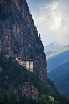 Sumela, Monastery, Trabzon, Turkey  Wow!!!  What I want to know is... whose idea was it to build there?