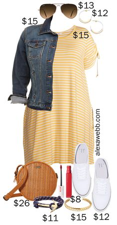 """Plus Size on a Budget – Yellow Stripe Dress Outfits - Alexa Webb - - A plus size on a budget post featuring two yellow stripe dress outfits. One is a bit more """"dressier"""" than the other. Both are perfect for summer! Striped Dress Outfit, Stripe Dress, Stitch Fix, Outfits Plus Size, Plus Zise, Casual Outfits, Cute Outfits, Look Plus Size, Plus Size Fashion For Women"""