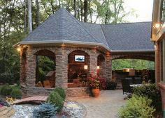 Stone gazebo and outdoor entertainment. Perfect for summer nights.