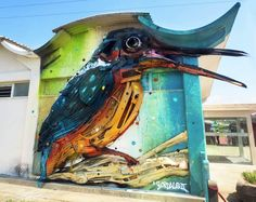 an amazing series of 3D creations made with trash, garbage and objects found in the street! Some absolutely awesome explosive and colorful creations by Bordalo ll