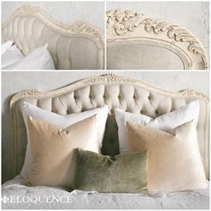 Eloquence Sophia Weathered White Tufted Headboard