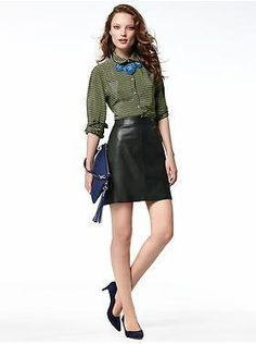 Love the leather skirt - Entire outfit Banana Republic
