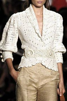 Crochet jacket and gold pants
