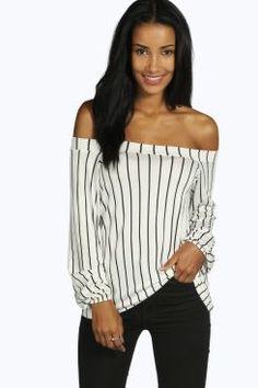 Lauren Stripe Off The Shoulder Swing Top at boohoo.com