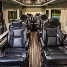 The Airstream Autobahn Sprinter van has arrived to take our esteemed guests to dinner. Sit back, relax, and feel free to turn on the Apple TV. Benz Sprinter, Mercedes Sprinter, Motorhome, Black Car Service, Mercedes Benz Vans, Luxury Van, Mini Bus, Van Interior, Custom Vans