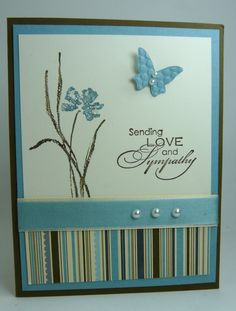 I did a bunch of cards that are similar, but have slight difference. I used retired DSP, Elegant Soiree. That was such beautiful paper, I really miss it! But I did stock up a bit :) I just wanted . Scrapbooking, Scrapbook Cards, Butterfly Cards, Flower Cards, Sorry Cards, Making Greeting Cards, Making Cards, Stamping Up Cards, Get Well Cards
