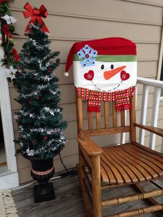 My Snowman front porch rocker cover.