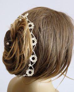 Svadobné čelenka háčkovanie hairband perla handmade svadobné svadobné doplnky vlasy kapela Ženy družičky dievčatá laso darček nápady nevesta