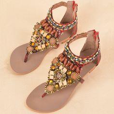 Shining Acrylics Weaving Upper Zipper Fastenings Flat Sandals