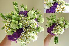 Wedding bouquet from blue hortenses, white eustoms and matricarium / svatební kytice z modrých hortenzií, bílých eustom a matrikária