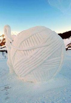 Snow sculpture of YARN!