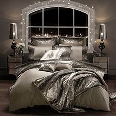 KYLIE MINOGUE MILA PRALINE SEQUIN SATIN USA QUEEN (230CM X 220CM - UK KING SIZE) 200TC 100% COTTON 6 PIECE BEDDING SET