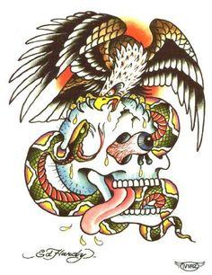 """Ed Hardy Skull Eagle Temporary Body Art Tattoos 3"""" x 4"""" Ed Hardy,http://www.amazon.com/dp/B00A1D0PD8/ref=cm_sw_r_pi_dp_4XwRqb1M66KG2782 #tattoos #bodyart #edhardy"""