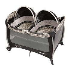 This playard from Graco features comfortable twin bassinets that make a perfect spot for your twins to nap. Twin slumber dome canopies, quilted bumpers, handy wheels and many more convenient features complete the design of this playard and twin bassinet.