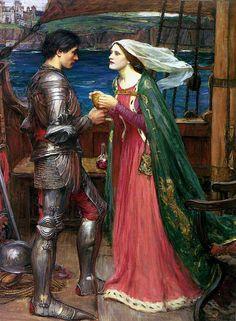"""""""Tristan and Isolde with the Potion"""".  (1916).  """"Tristão e Isolda com a Poção"""". (by John William Waterhouse)."""