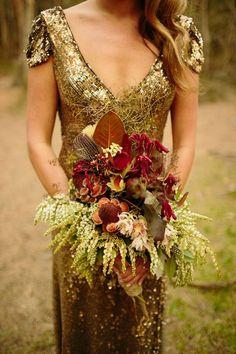 gold V neck sequin wedding dress