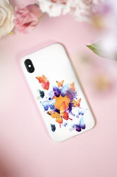 0€ shipping #Watercolour #phone #phonecase #diy #wallpaper #pink #cute #colorful #taide #art #painting #white #butterfly #puhelin Wallpaper Pink Cute, Diy Wallpaper, Iphone Background Vintage, Bullet Journal Layout Templates, Miniature Schnauzer Puppies, Cute Baby Dogs, Shiva Art, Butterfly Watercolor, White Butterfly