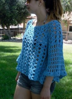 """Top-down, crochet-in-the-round and raglan shaping. Make it in cotton for the summer and/or wool or acrylic for colder weather. The length is cropped but it can be made longer into a tunic or a dress. I provide FREE customer support for all my patterns! SIZES: XS, (S/M, L/XL ) for bust size 30-32"""", (34-38"""", 40-44""""). MATERIALS NEEDED: Worsted weight yarn, approx 600-900 yds. Model was made with Lily Sugar N' Cream in Hot Blue. Crochet hook J. Stitch Markers. SKILL LEVEL: Easy to ..."""