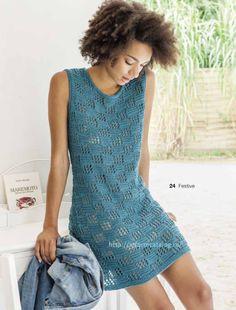 Вяжем Голубое Платье Спицами